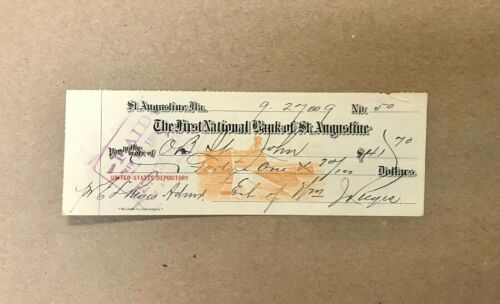 1909 The First National Bank of St. Augustine Florida Obsolete Check