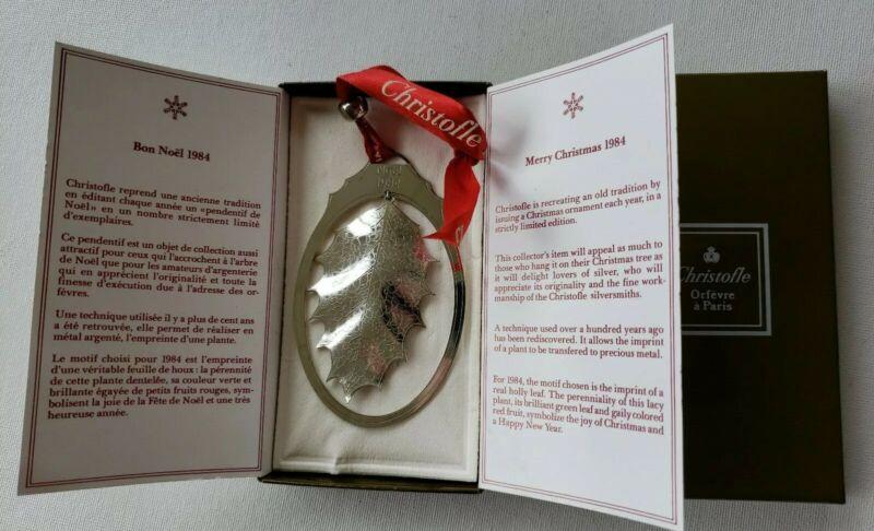 Christofle Paris 1984 Noel HOLLY LEAF Christmas Ornament w/ Box