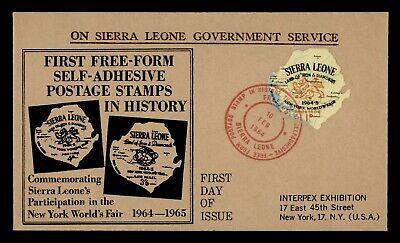DR WHO 1964 SIERRA LEONE FDC NY WORLDS FAIR DIE CUT EXPO CACHET  g19863