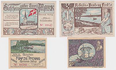 50 Pfennig und 1 Mark Banknoten Notgeld Gemeinde Satrup um 1920 (122075)