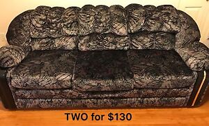 two black floral sofa for $130