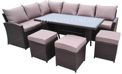aria new pe rattan wicker high sofa lounge dining combination
