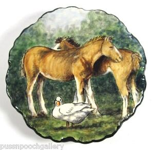 Hand Painted Small Plate-Horses in Paddock with White Duck - One only