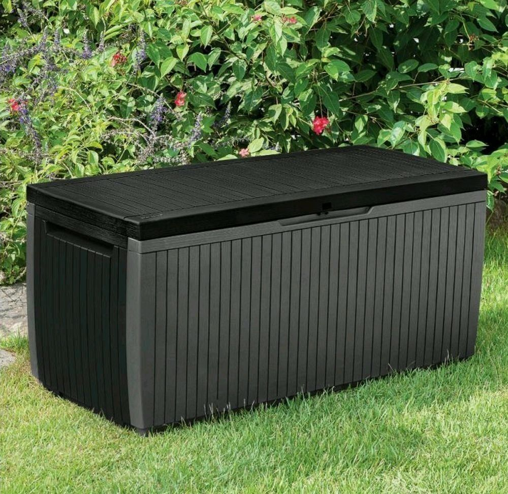 Brand New Keter Springwood 305l Plastic Garden Storage Box For Outdoor Indoor Or Home In