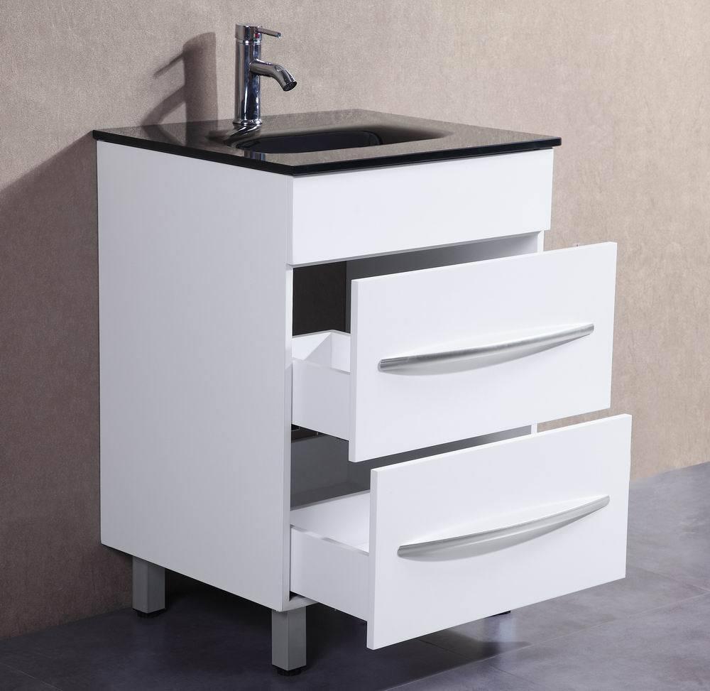24 inch Belvedere Modern White Freestanding Bathroom Vanity