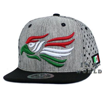 Mexican hat Mexico Eagle Snapback Punched Mesh Flat bill Baseball cap-Gray/Black