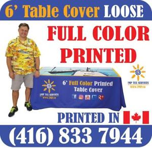 Custom Printed LOOSE Table Cover Trade Show Event Full Color In-House Dye-Sublimation Fabric Printing RE-SELLER PRICES