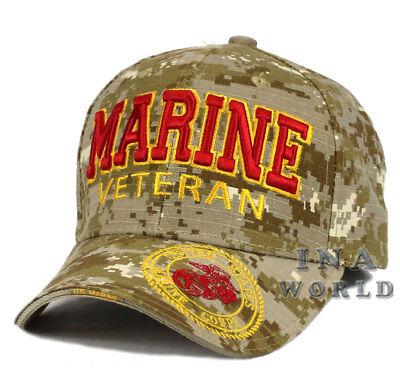 U.S. MARINE hat Military MARINE VETERAN Licensed Baseball cap- Desert Camo