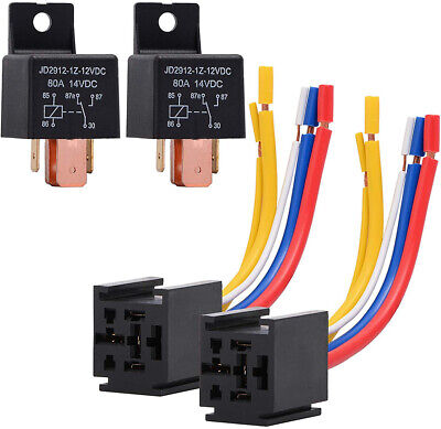 2pcs 12v 80a Car Relay Switch 5-pin Spdt Truck Boat Van Vehicle Starter Relay