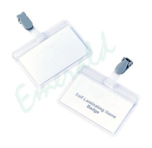 25 x Self Laminating Visitor Name ID Badges With Clip - Same Day Dispatch