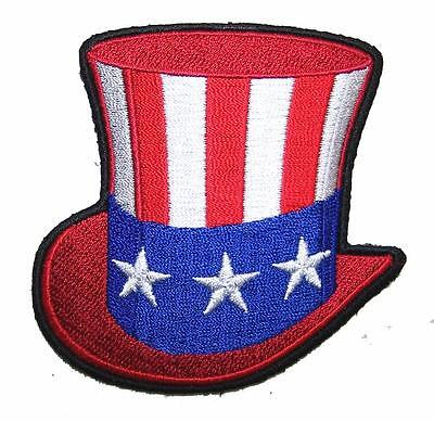 UNCLE SAM AMERICAN FLAG HAT  PATCH P8250 NEW jacket BIKER EMBROIDERED -