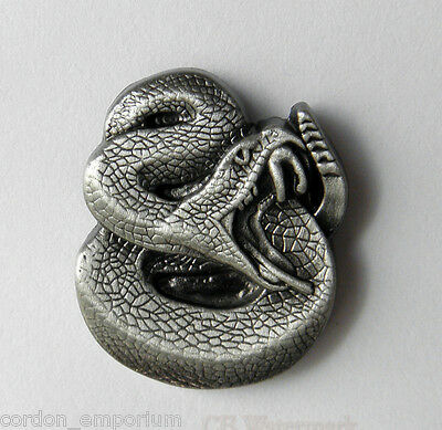 RATTLE SNAKE 3-D GRAY PEWTER ANIMAL LAPEL PIN BADGE 1 INCH
