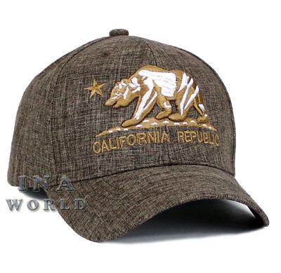California Republic hat CA Bear Logo Snapback Curved bill Baseball cap- Brown