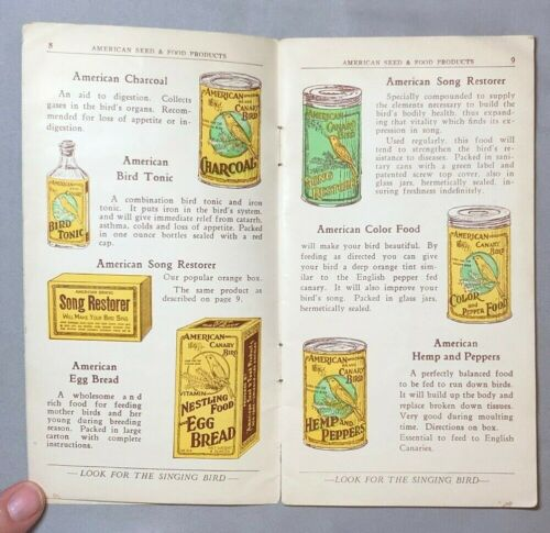 1930 American CANARY BIRD Seed Book PET FOOD CATALOG Vintage ADVERTISING
