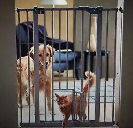 Dog barrier with cat door