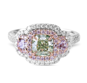 Fancy Pink Diamond and Green Diamond Rare 1.92 Carat Engagement