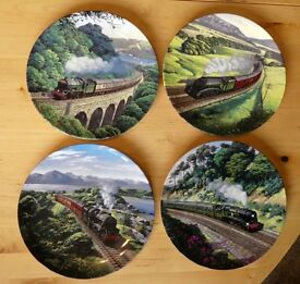 4 Train Commemorate Wall Plates with Certificates ideal present for a Train Enthusiast