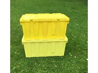 Storage / removal boxes with lids. Will stack and support considerable weight.