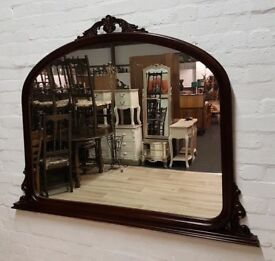 Large Mahogany Overmantle Mirror (DELIVERY AVAILABLE)