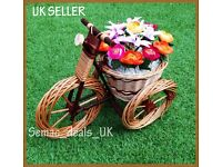 HANDMADE WICKER TRICYCLE GARDEN FLOWER POT BASKET ORNAMENT DECORATION
