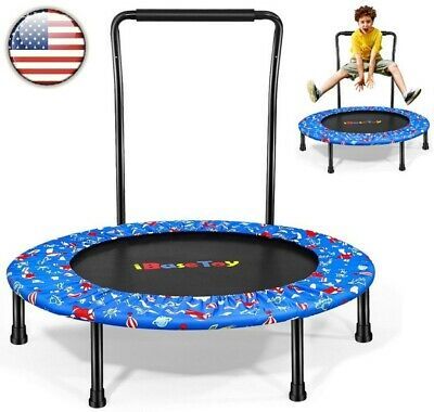 US Fitness Trampoline With Handle Round Workout Aerobic Weight Loss Fitness New