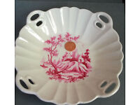 vintage cranberry scene plate
