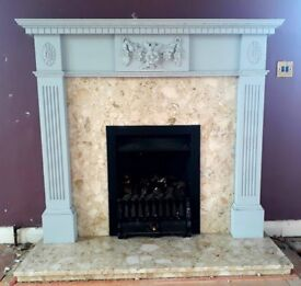 Marble bottom & back fireplace with wooden suround. £75.00