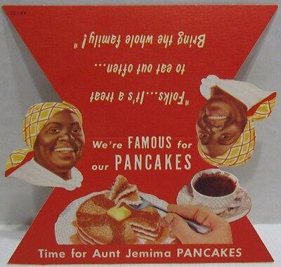 Vintage Aunt Jemima Pancakes Restaurant Table Card