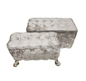 SILVER GREY Set of 2 Crush Velvet Diamante Ottoman Storage Box Footstool Pouffe Seat Chair Chest