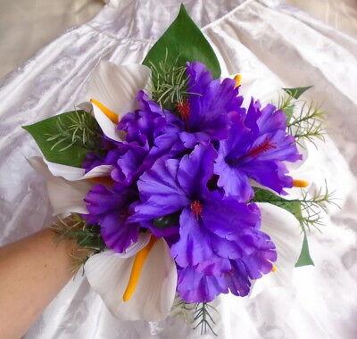 Tropical Beach Bridal Wedding Bouquet Silk White Lily Purple Hibiscus Shells