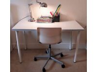 Ikea White Gloss Table with Revolving Chair