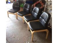 Black leather comfy chairs x4 DELIVERY AVAILABLE