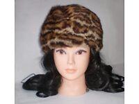 Vintage Real Ocelot Fur Hat, medium size