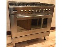 Cooker and Hood, Stainless Steel, Dual Fuel, DeLonghi, Range Style