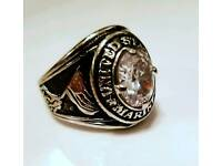 *** COLLECTIBLE US MARINE CORPS SOLID SILVER COLLEGE RING with Diamond***
