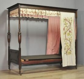 Attractive Tall Antique Edwardian Carved Oak Single Four Poster Embroidered Bed
