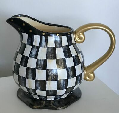MY OWN Hand Painted Large Water Pitcher / Vase with MacKenzie-Childs Ribbon Bow  Hand Painted Water Pitcher