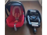 Maxi cosi cabriofix pink car seat and isofix base