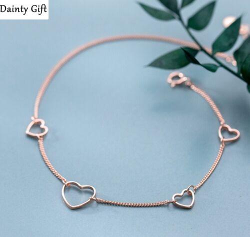 "DAINTY Women 925 Sterling Silver Rose Gold Heart  Anklet Foot Bracelet 8-9.2"""
