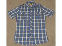 Firetrap mens checked short sleeve Collar Polo Holidays Cotton Blend used grey shirt Size: M Medium