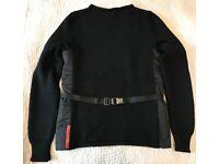 New Black wool Prada Sport belted jumper