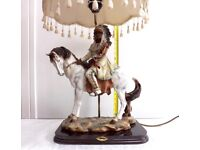 Mounted Indian Chieftain Academy Collectors Table Lamp Rare 1990 Working