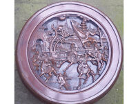 Chinese Carved (Fighting / War Scene) Coffee Table & Stools