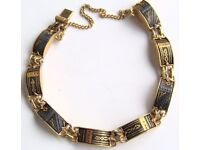 18K GOLD plated fine carving sterling silver bracelet, Small, New!