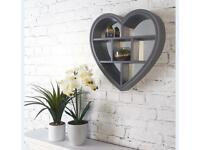Heart shaped mirror shelf