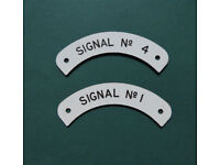 "Vintage Railway Signal Box Indicator ""Signal No. 1"" & ""Signal No. 4"" Description Plates Collectable"