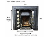 Antique Victorian Iron Fireplace, Insert and Tiles - Some Work Needed