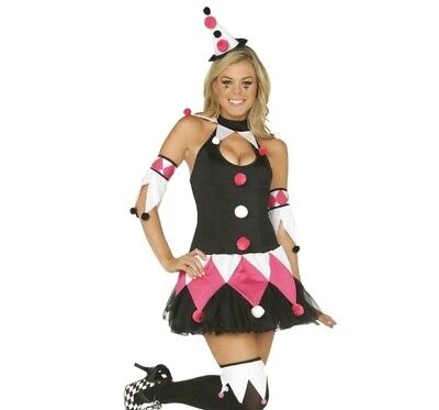 Colorful Clown Sexy Court Jester Full Adult Costume Fast Free U.S. Shipping NEW