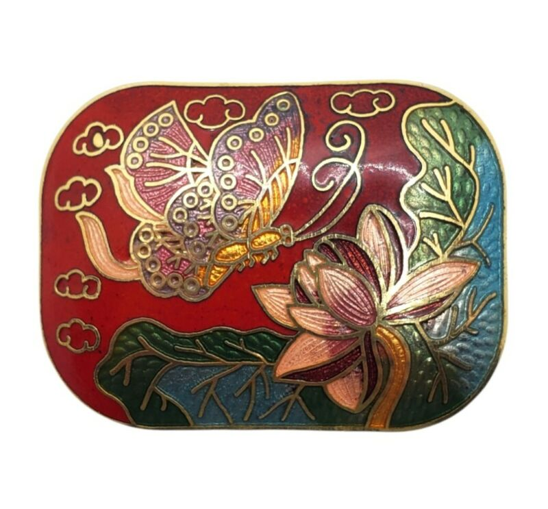 """Vintage Cloisonne Scarf Clip Butterfly With Flower Rectangular 1.75"""" x 1.25"""""""