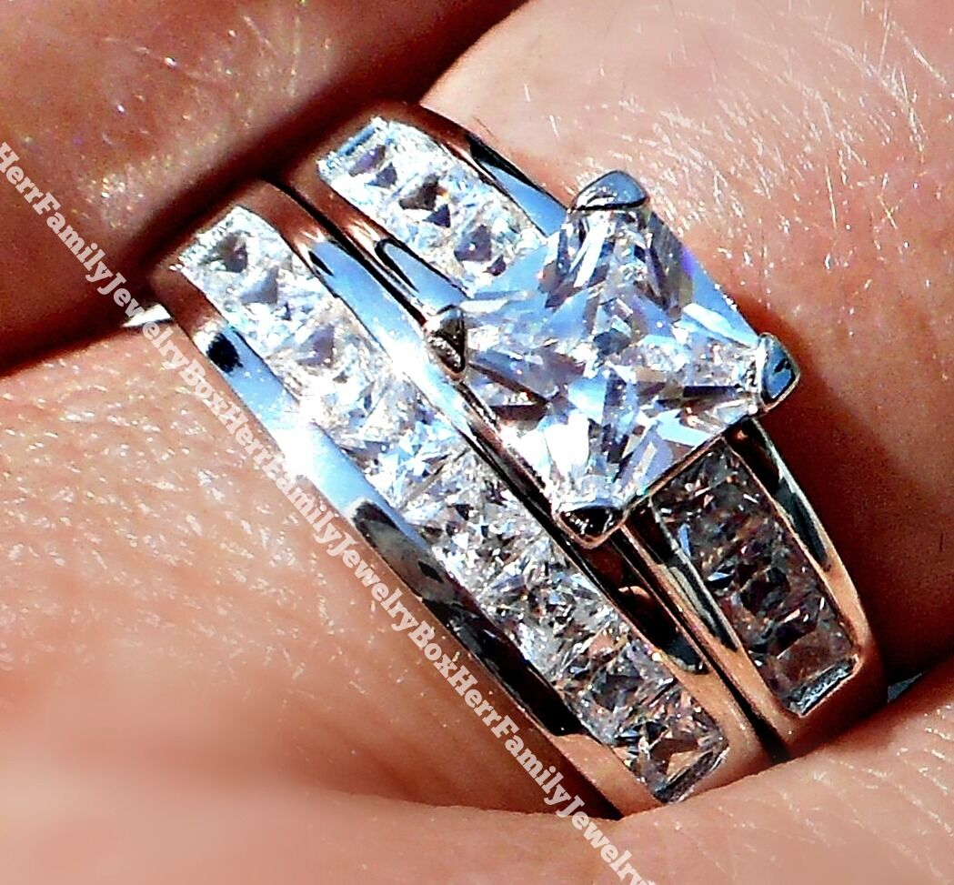 14k White Gold Sterling Silver Princess Diamond cut Engagement Ring Wedding Set